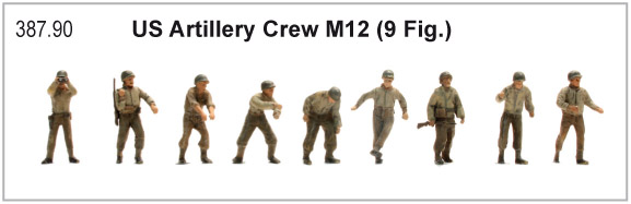 Artitec 387.90 US M12 Art. crew M 12 WWII 1:87 9 Figures 155 mm