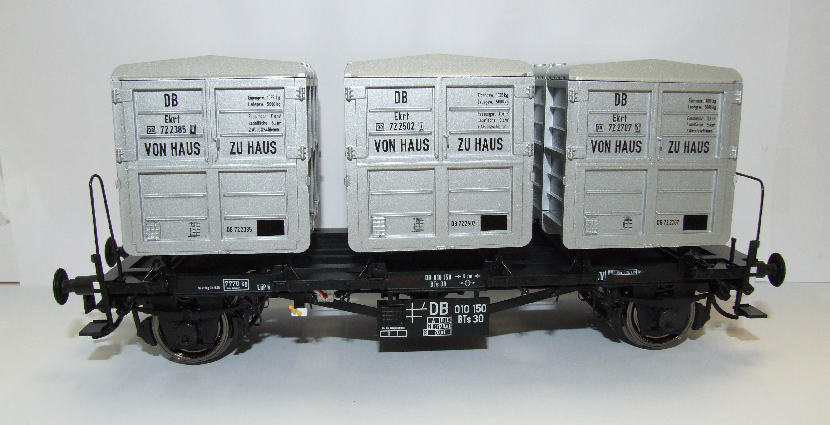 BRAWA 37160 Spur 0 Behältertragwagen BTs30 DB EP III von Haus zu Haus