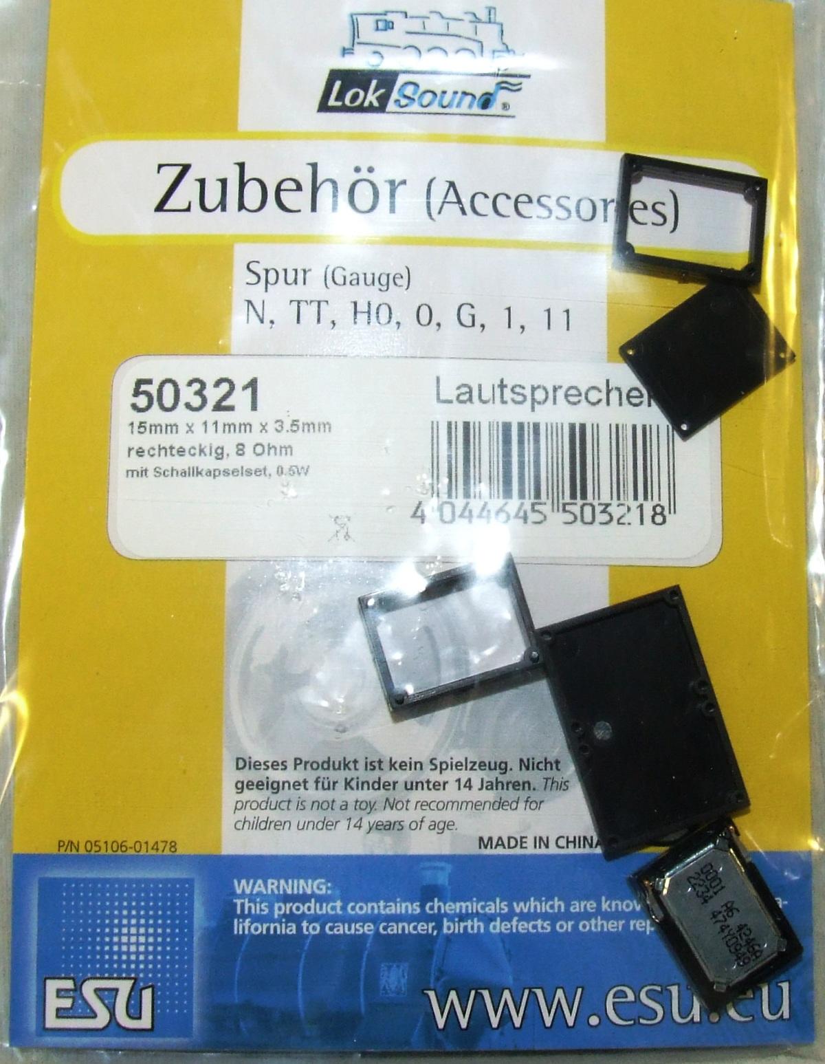 ESU  50321 Lautsprecher 15mm x 11mm x 3.5mm, rechteckig, 8 Ohm, mit Schallkap