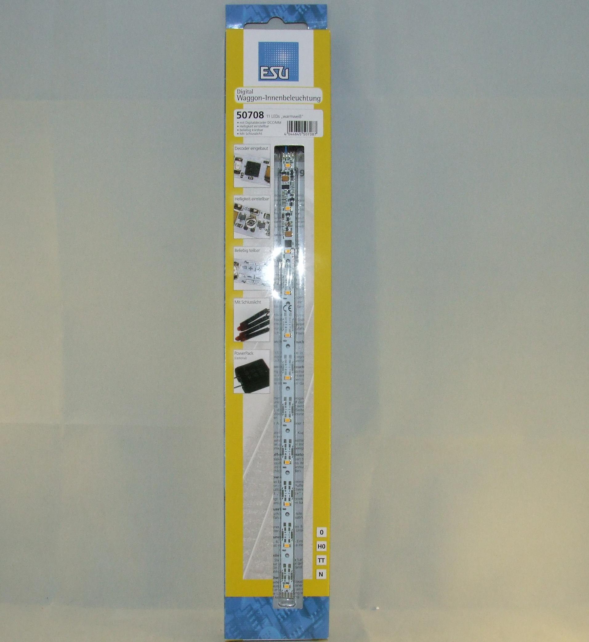 ESU 50708 Innenbeleuchtungs-Set mit Decoder + Schlusslicht, 255mm, teilbar