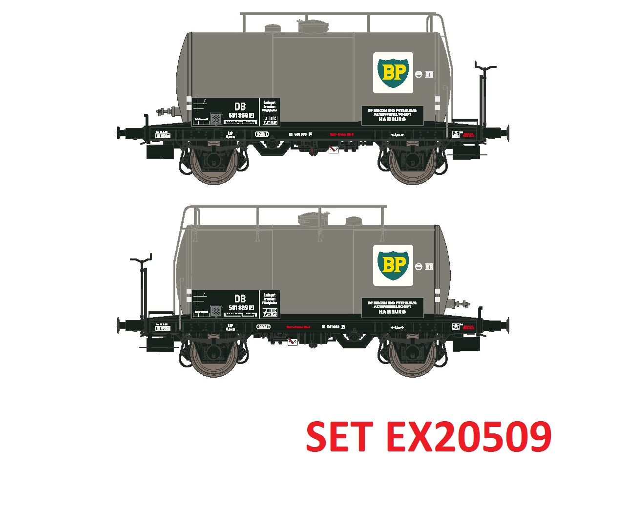 Exact-train EX20509 H0 DB 2er Set 24m3 Uedinger Kesselwagen BP