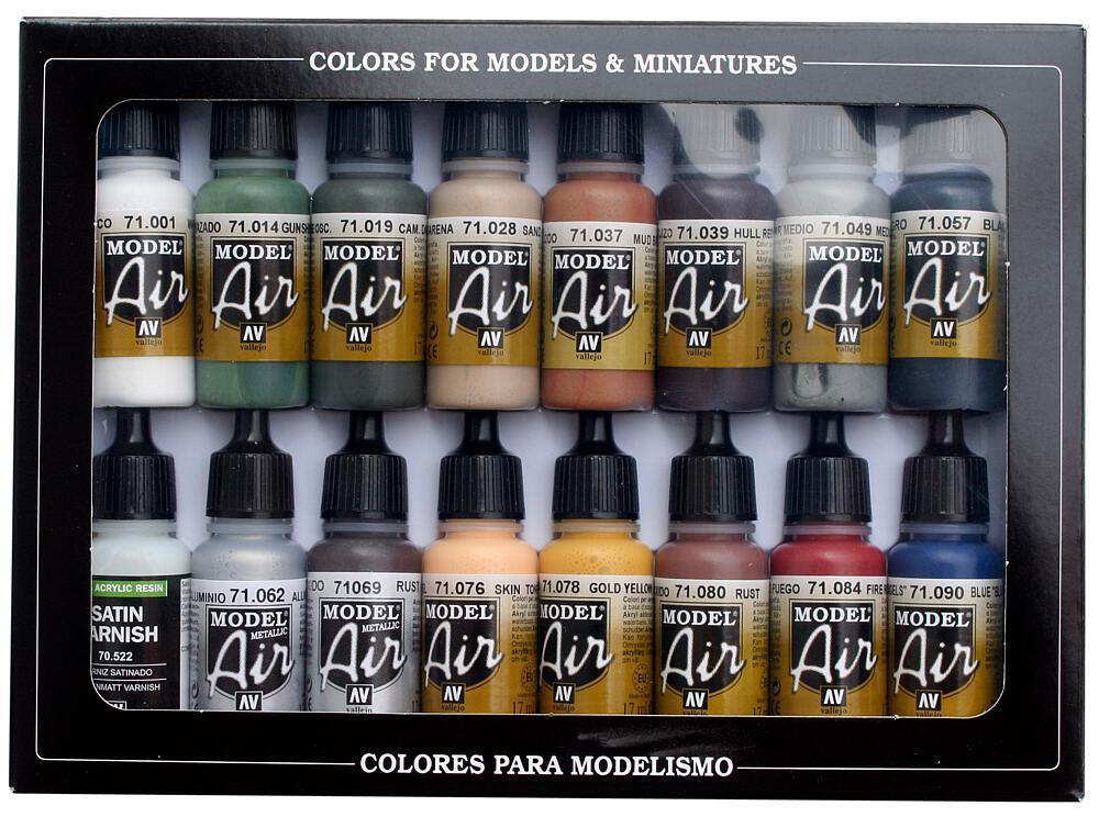 Vallejo 771191 Farb-Set, Eisenbahnfarben, 16 x 17 ml
