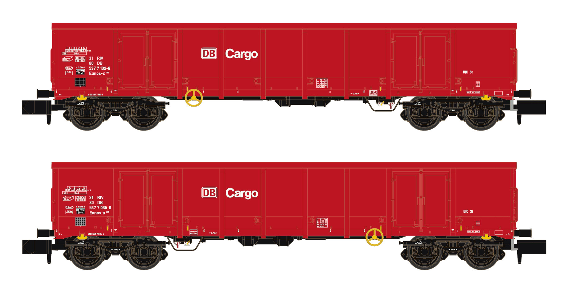 Hobbytrain H23406 Spur N 2er Set Eanos X-055 AAE DB-Cargo rot Y25