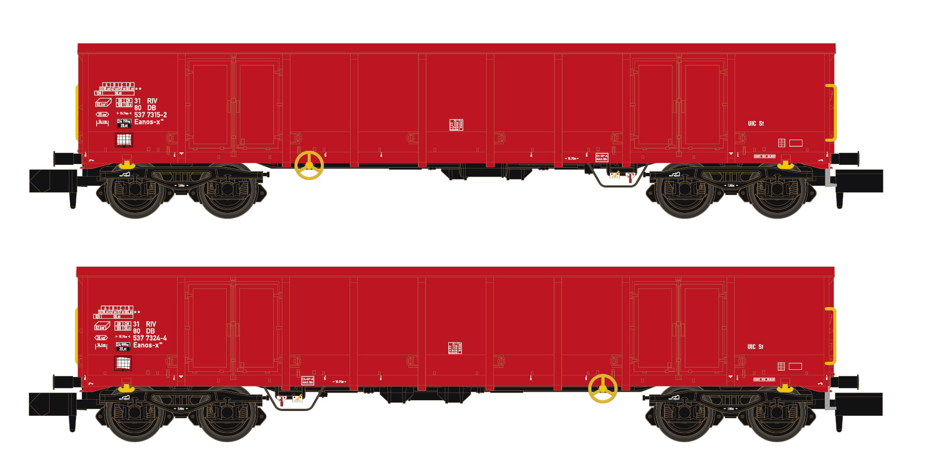 Hobbytrain H 23407 Spur N 2er Set Eanos x-055 AAE DB rosso, y25