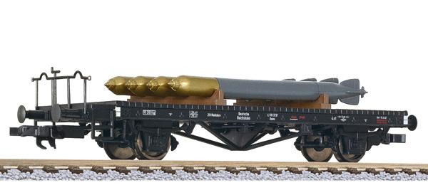 VO Liliput L 235284 H0 Flachwagen, Bauart Omm, DRB, beladen mit Torpedos, Ep.II
