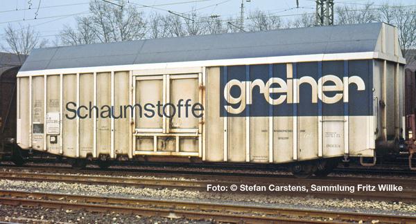"""Liliput L 235808 H0 Großräumiger Güterwagen, Hbks, DB, """"Schaumstoffe greiner"""", Ep.IV (kurz)"""