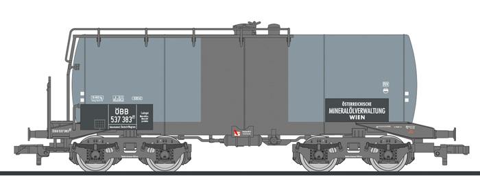 """Liliput L 235985 H0 4-achs. Kesselwagen, """"Österreichische Mineralölverwaltung"""", ÖBB, 630 hl Tank, Ep.III"""