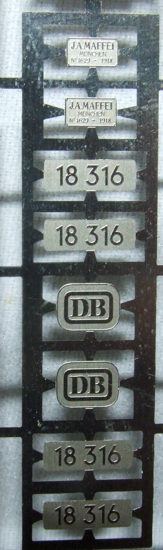 *LO 996* Liliput Ätzschildersatz Betriebs Nr BR 18 316 DB für 104001