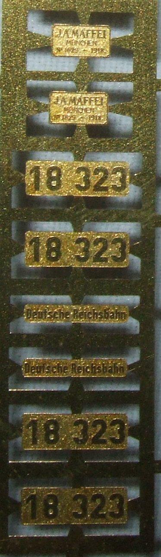 *LO 1001* Liliput Ätzschildersatz Betriebs Nr BR 18 323 DRG