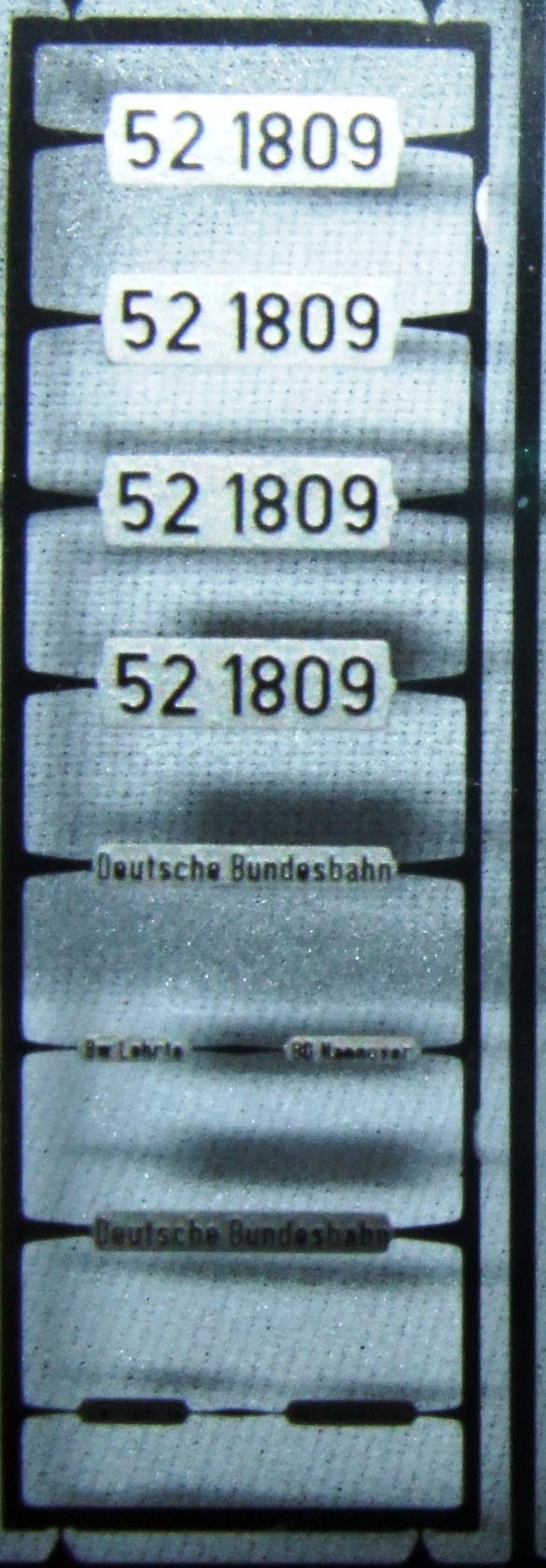 *LO 994* Liliput Ätzschildersatz Betriebs Nr BR 52 1809 der DB