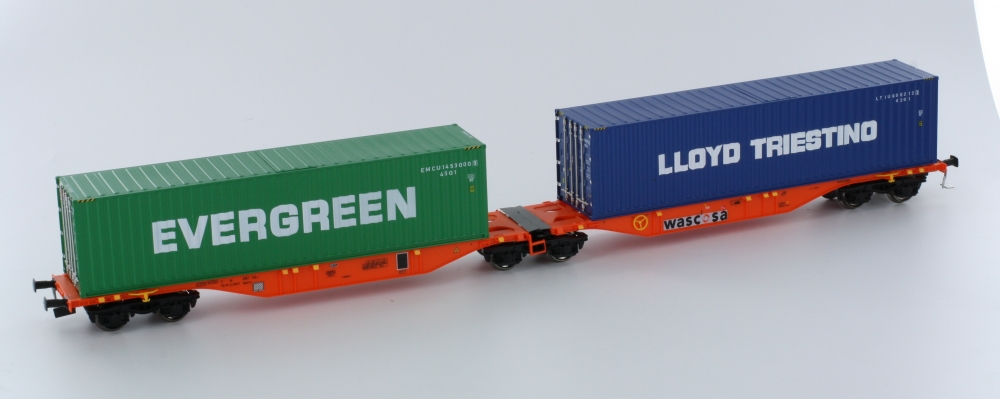 Mehano 58600 H0 Containertragwagen SGGMRSS 90' Wascosa orange mit 2x 40