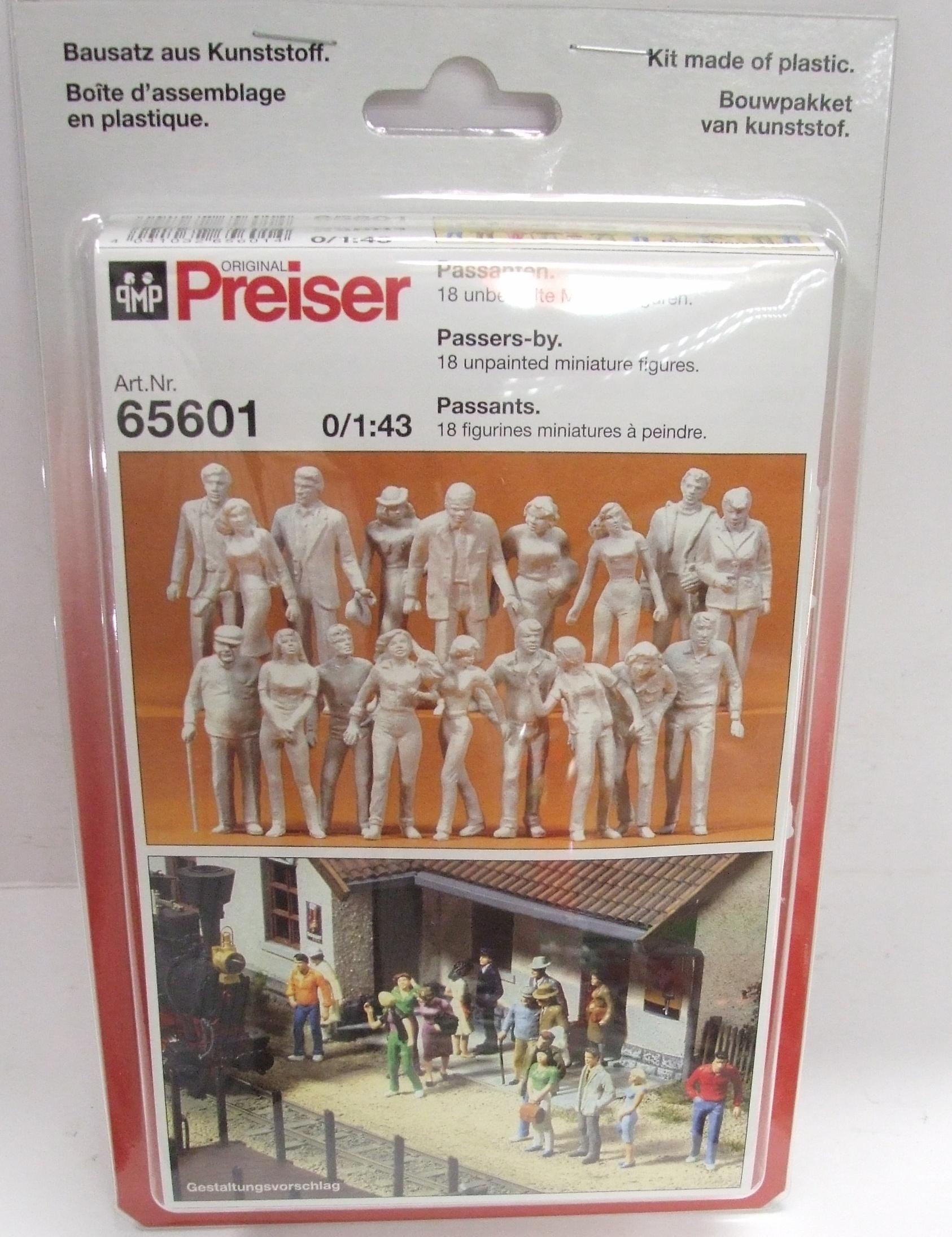 Preiser 65601 für Spur 0 1:43 Passanten 18 unbemalt NEU & OVP