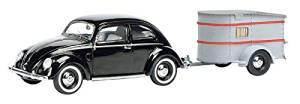 Schuco 450389100 VW Brezelkäfer mit Anhänger 1:43