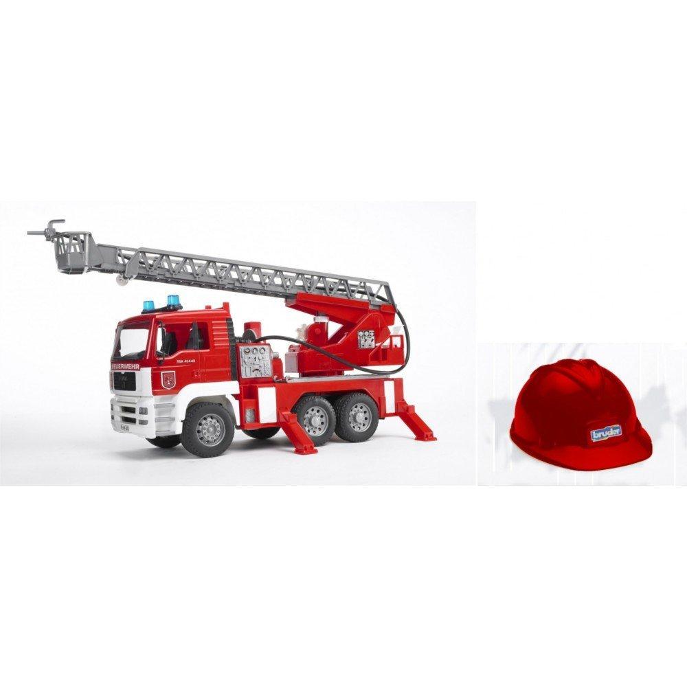 Bruder 01981 MAN TGA 1:16 Feuerwehr mit Drehleiter Licht, Sound und Helm