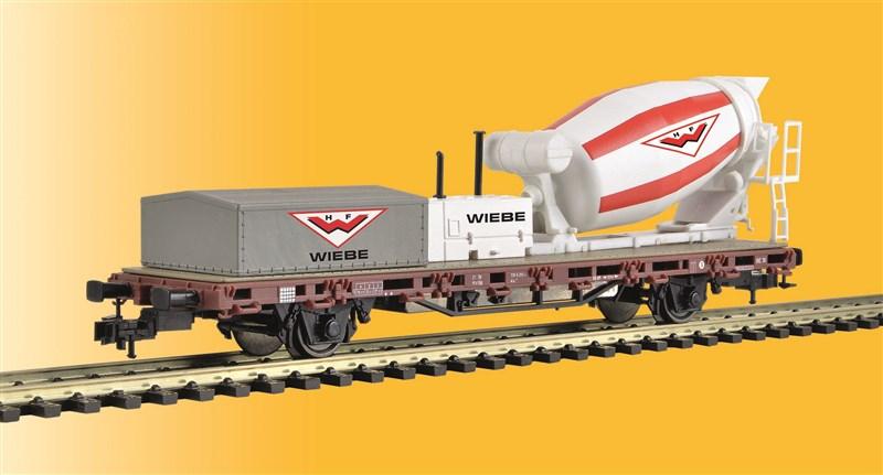 Kibri 2627 Spur H0 Niederbordwagen mit Betonmischer Wiebe AC 3 Leiter