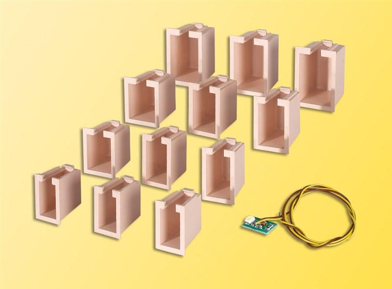 Viessmann 6005 H0 Hausbeleuchtungs-Startset 12 Boxen, 4 Größen u. 1Led weiß
